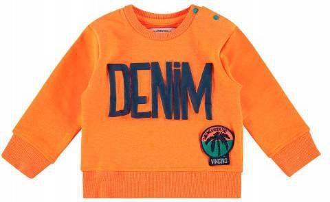Vingino sweater Nash mini met tekst en 3D applicatie neon